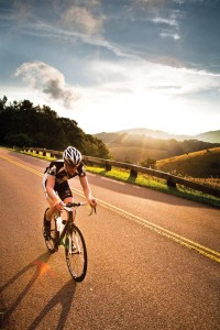 Pedal Power: Tavis Cummings rides the Blue Ridge Parkway near Pisgah. Photo: Patrick Cavan Brown