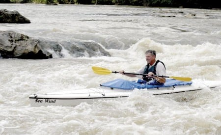 Robert Fuller paddles the Chattahoochee.