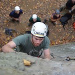 Emory & Henry student Zach Bonham climbing at the Red River Gorge during a Fall Break trip.