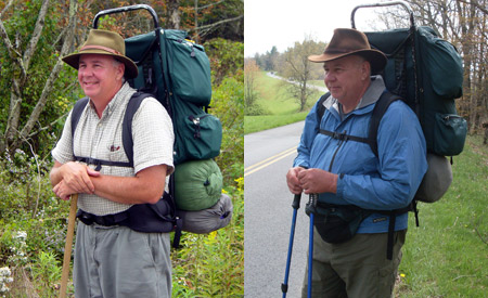 Left: Author on 2003 Parkway trek near Pineola, N.C. Photo: Travis Proctor. Right: Author on 2013 Parkway trek near Hillsville, Va.