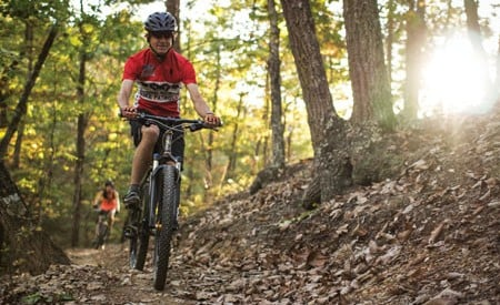Roanoke bikers go for a post-work ride at Carvins Cove, located just outside the city. Photo: Jess Daddio