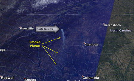 The Table Rock Fire, as seen from space. Photo: wxbrad.com