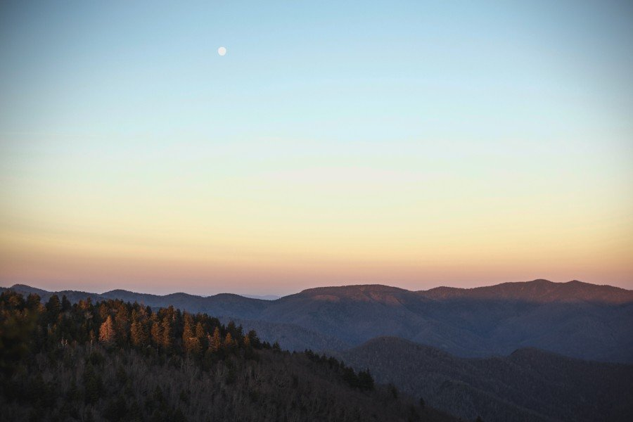 Shining Rock in western North Carolina at sunrise.