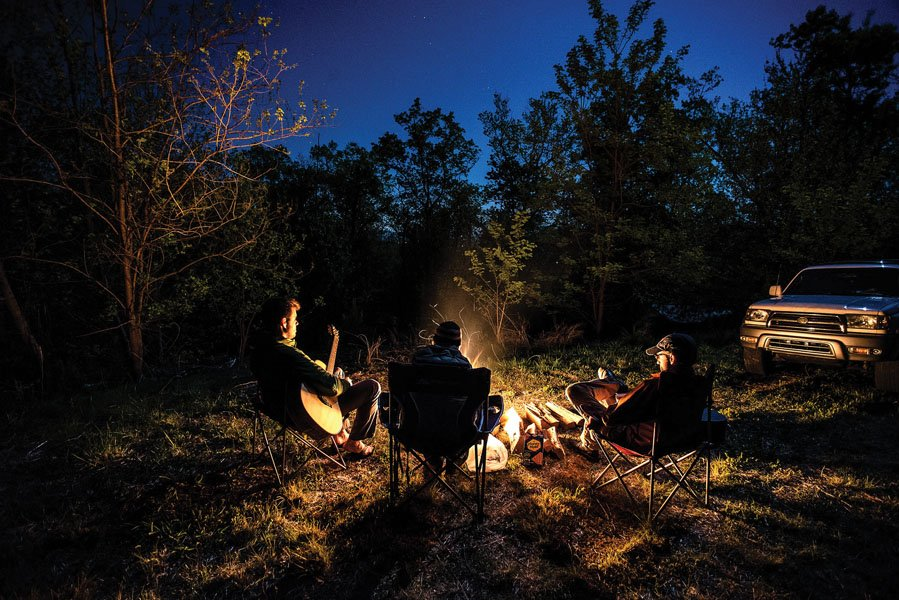 Campfire at opening weekend for Bike Farm in Pisgah Forest, North Carolina.